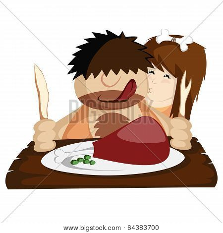 Happy prehistoric caveman couple having a huge bone-in meat for lunch or dinner. Nice illustration for paleo diet programs, valentines, restaurants. poster