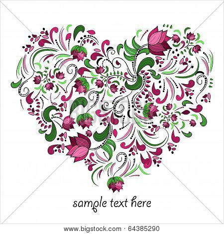 Bright heart made of flowers in vector