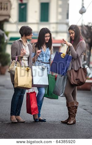 Happy Girls Doing Shopping