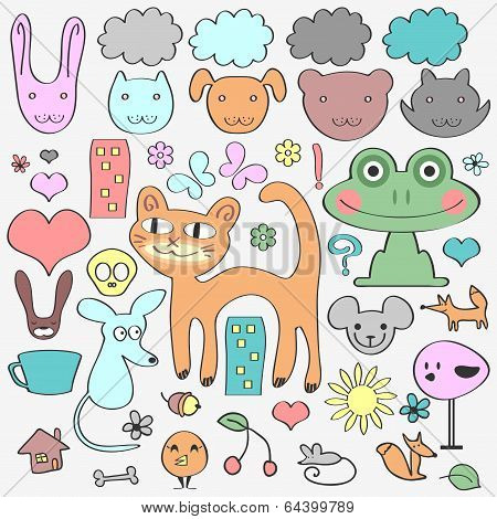 Various Elements Animals And Nature. Cute Babyish Style
