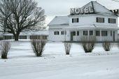 Motel abandoned during winter in Truro, Nova Scotia poster