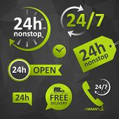 call us open hours free delivery - twenty four hours icon. customer support on dar backgournd. isolated. poster