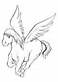 Outlined illustration of a pegasus for coloring poster