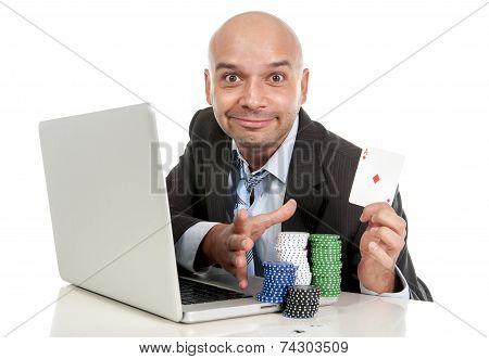 Happy Businessman On Computer Making Lots Of Money Internet Gambling Addict