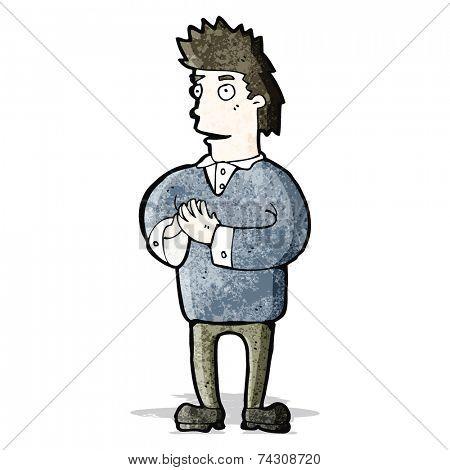 cartoon man pressing fingertips together