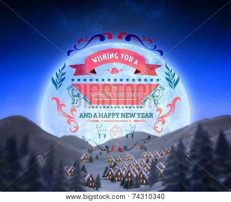 Christmas message against christmas village under full moon poster