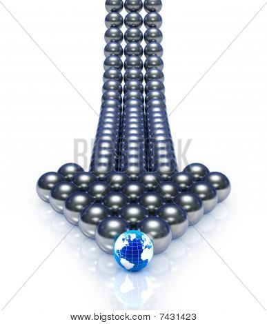 Abstract spheres arrow.
