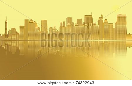 Golden City skyline New York vector