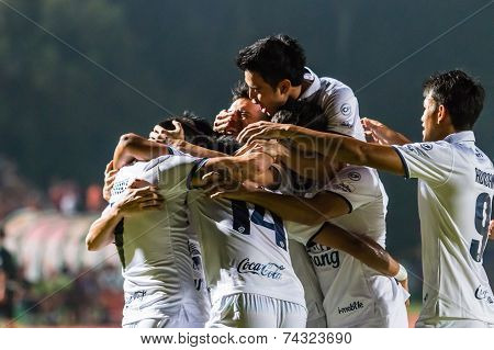 Sisaket Thailand-october-15: Players Of Buriram Utd. In Action During Thai Premier League Between Si