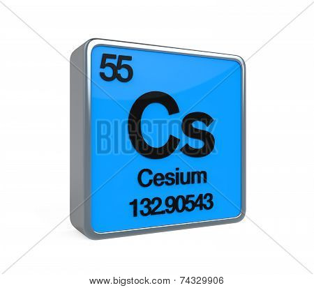Cesium Element Periodic Table isolated on white background. 3D render poster