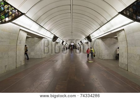 MOSCOW, RUSSIA - 11.06.2015. metro station Tsvetnoy Bulvar, Russia. The Moscow Metro carries over 7