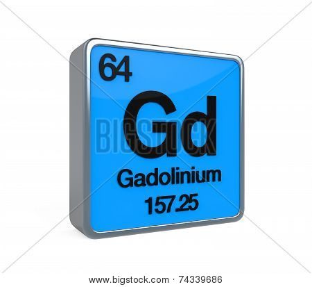 Gadolinium Element Periodic Table isolated on white background. 3D render poster