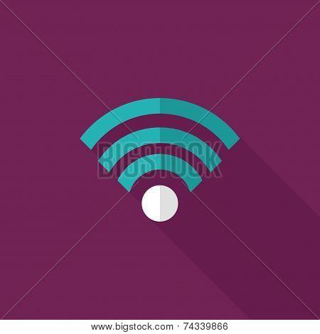 Wireless Wifi Flat Icon With Long Shadow