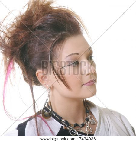 Serene Young Woman With Dyed Hair