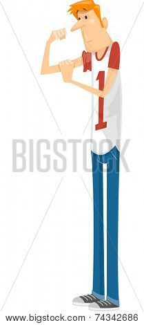 Illustration Featuring a Skinny Guy Checking His Biceps