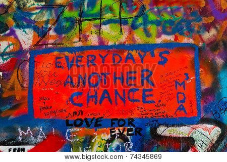 John Lennon Graffiti Wall On Kampa Island In Prague