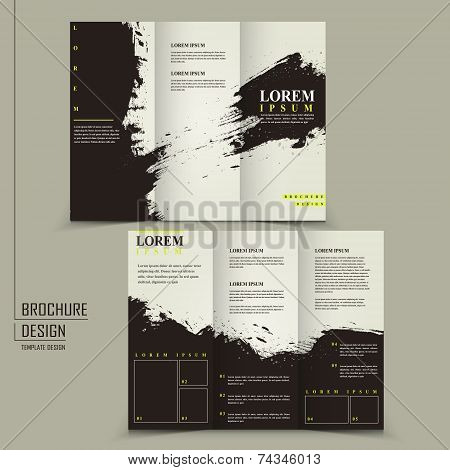 Abstract Chinese Calligraphy Design For Tri-fold Brochure