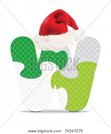 Letter W written with alphabet puzzle with Christmas hat - vector illustration