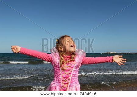 Happy princess by the sea