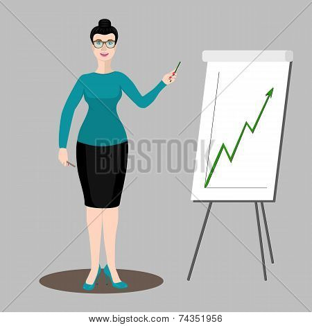 Business Woman Shows A Graph