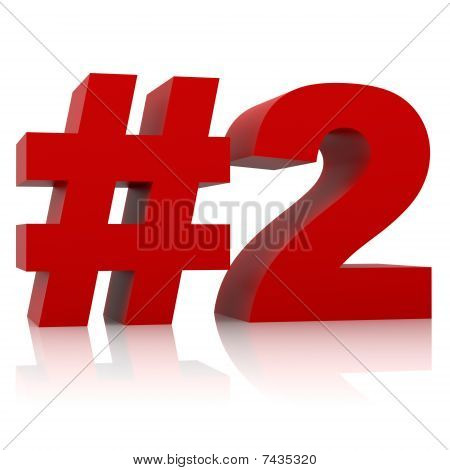 red number two sign isolated on white background