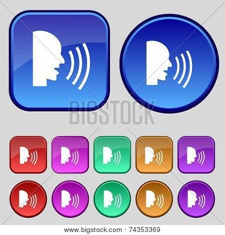 Talking Flat modern web icon. Set colour button. Vector