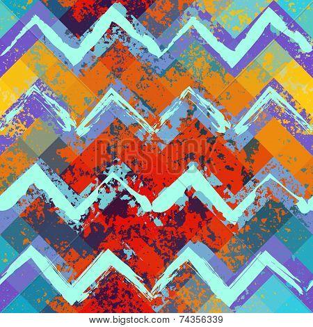 Seamless background pattern. Grunge blue and orange chevron pattern. poster