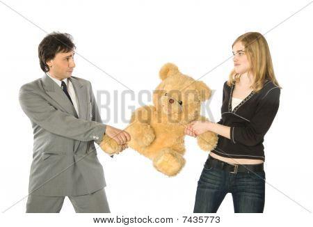 Fighting Over A Teddy-bear