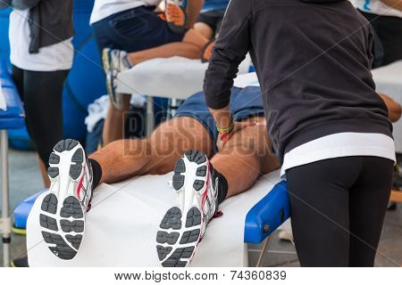 athletes relaxation massage before sport event marathon muscles massage poster