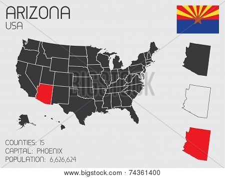 Set Of Infographic Elements For The State Of Arizona