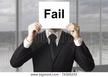 Businessman Hiding Face Behind Sign Fail