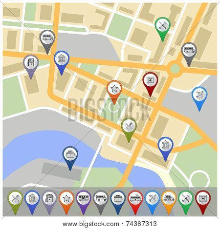 Map with gps icons