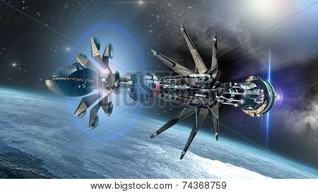 Spaceship with Warp Drive