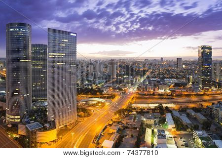 Tel Aviv city - View of Tel Aviv at sunset Out of Window