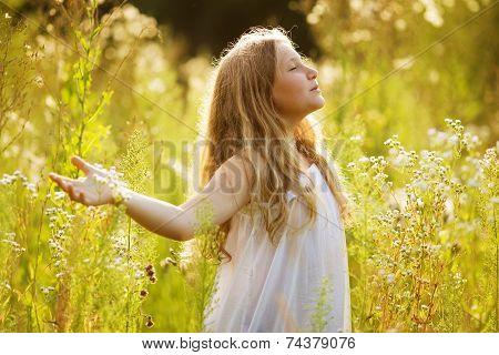 Happy Blonde Girl Of Wildflowers