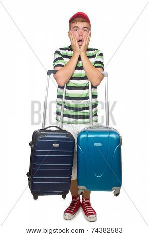 Funny man with suitcase isolated on white