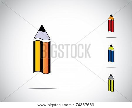 Sharp Yellow, Blue, Red And Green Colorful Isolated Wooden Pencil Icon Symbol Set