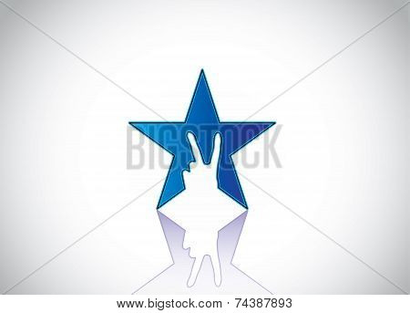 Shiny Blue Colorful Star With Victory Winning V Hand Gesture Silhouette - Achivement Award Design