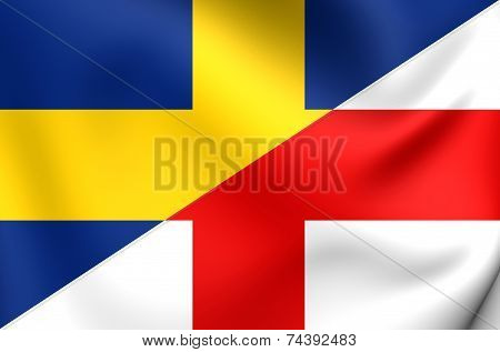 3D Flag of Oldenzaal, Netherlands. Close Up. poster