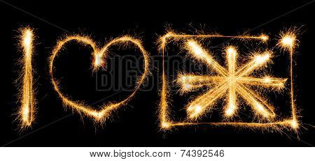 I love Great Britain made of sparkles on black background poster