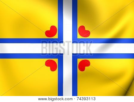 3D All Frisian Flag. Close Up. Front View. poster