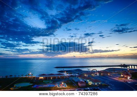 Evening glow of the beach in Okinawa