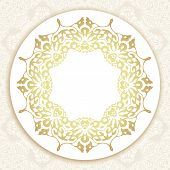 Floral frame background. Traditional arabic motif border.Luxury style Ottoman ornament motif. Victorian royal background. Vector illustration. poster