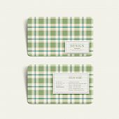 abstract plaid design business card template in green poster