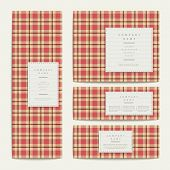 plaid design banners template set in red poster