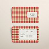 abstract plaid design business card template in red poster