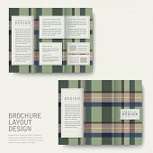 plaid design tri-fold template set in green poster