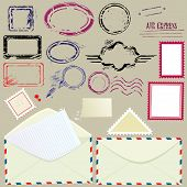 Collection of mail design elements - blank postmarks stamps and envelopes - postage set. poster