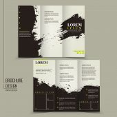 abstract Chinese calligraphy design for tri-fold brochure template poster