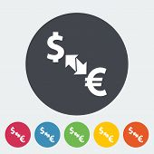 Currency exchange. Single flat icon on the circle. Vector illustration. poster